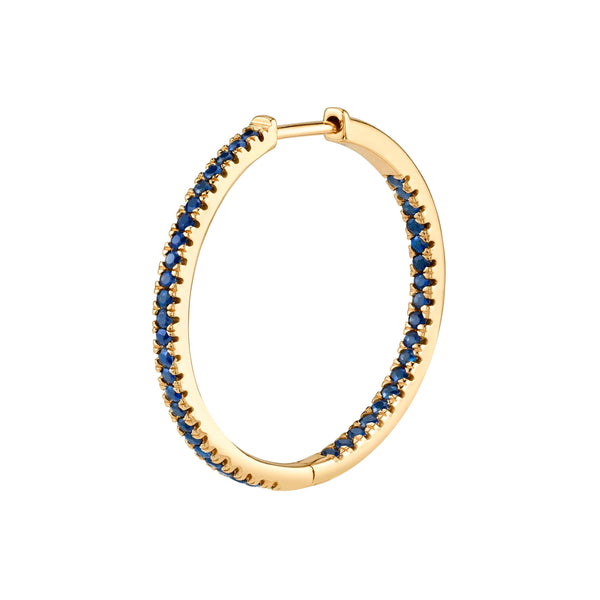 BLUE SAPPHIRE LARGE INSIDE OUT HOOP EARRING