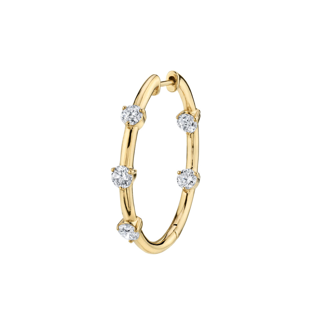 Diamond Five Solitaire Inside Out Hoop Earring