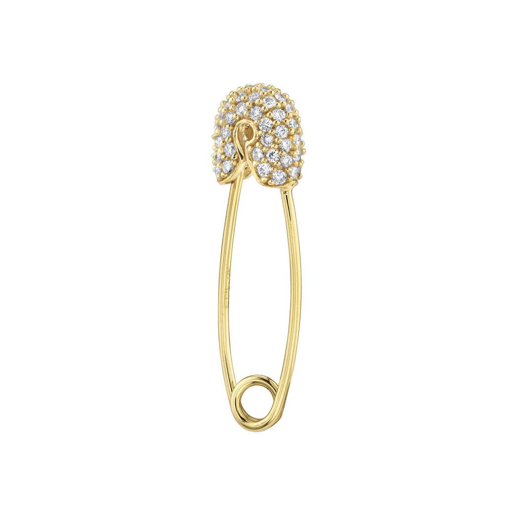 DIAMOND MEDIUM PAVÉ TOP SAFETY PIN EARRING