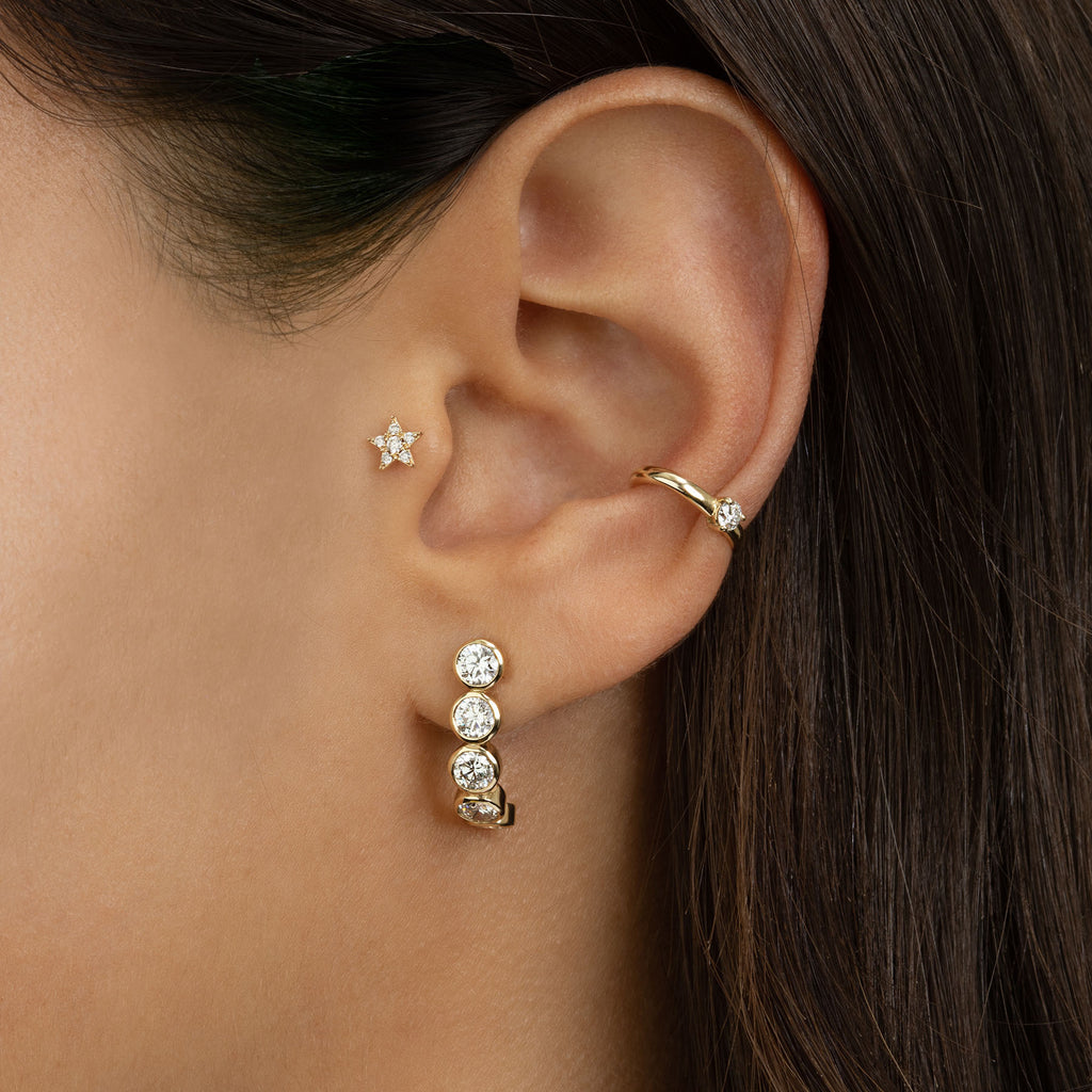 DIAMOND BEZEL CURVE EARRING