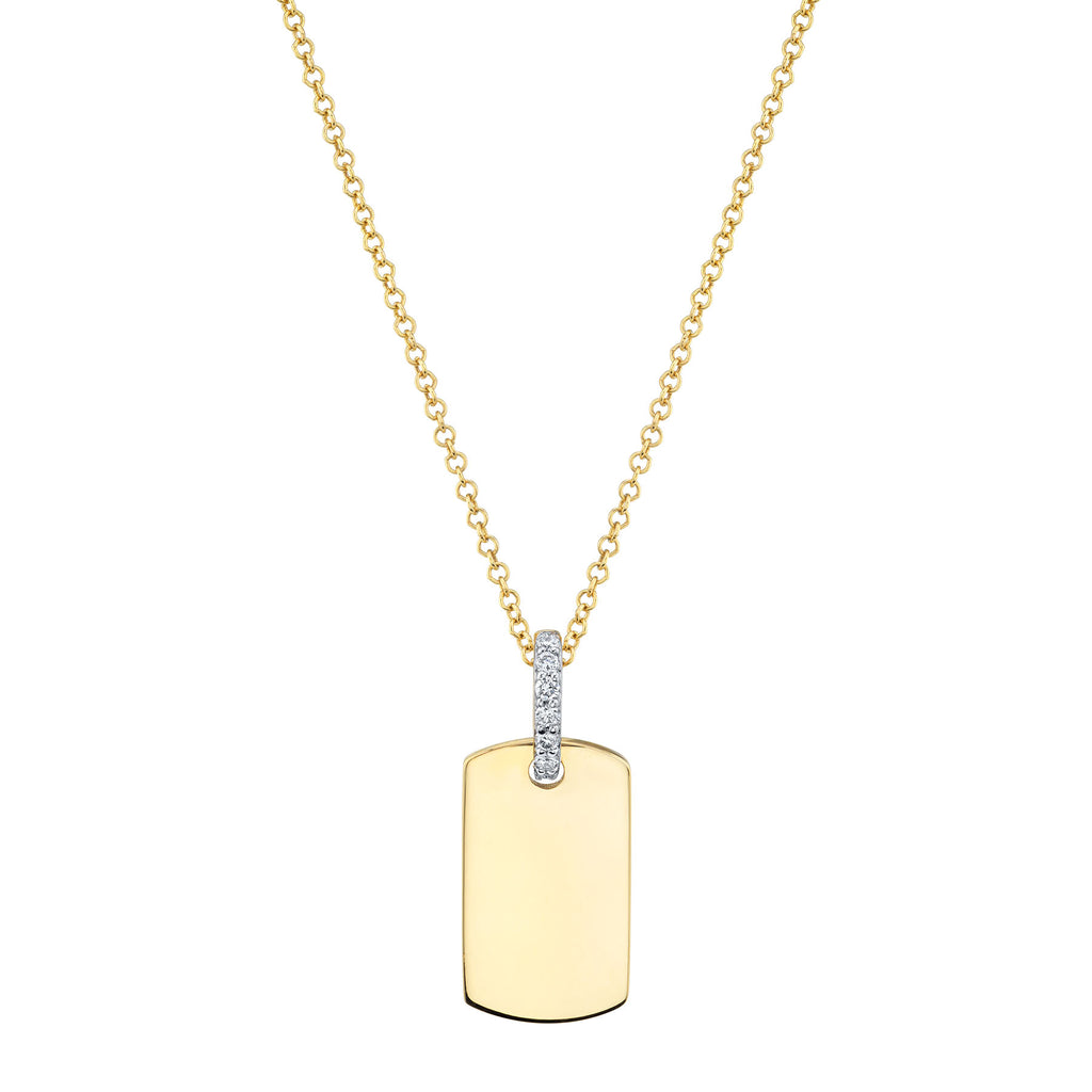 GOLD DOG TAG WITH DIAMOND BALE PENDANT