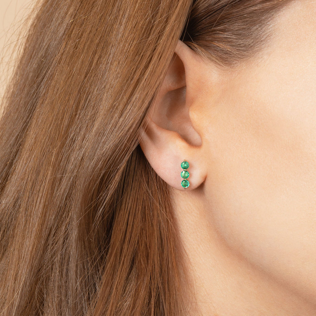 EMERALD TRIPLE PIERCING STUD EARRING
