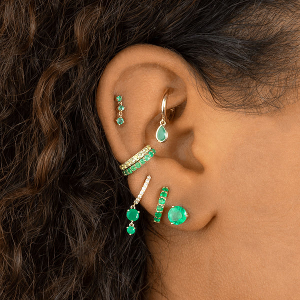 6MM EMERALD STUD