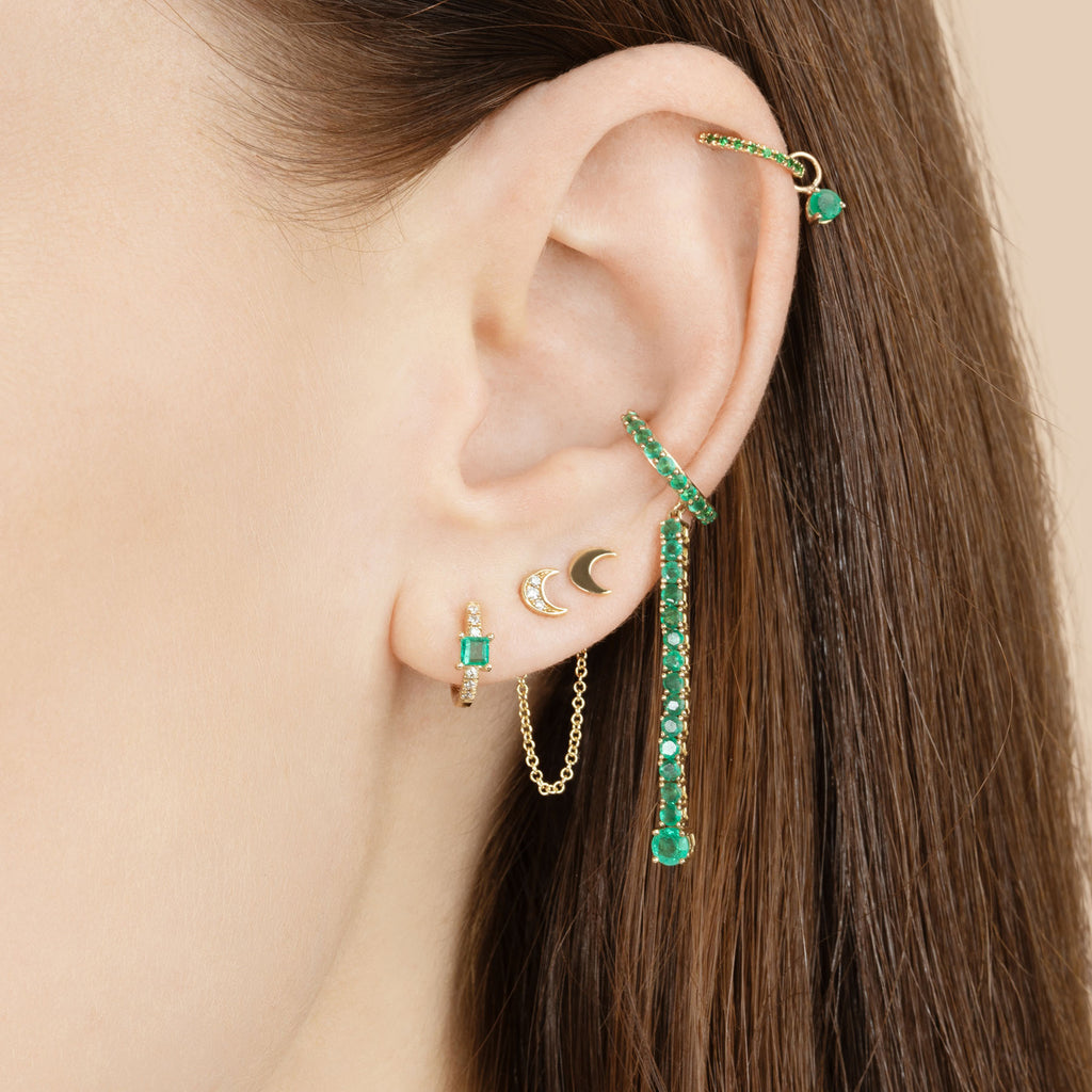 GOLD MOON CONNECTED CHAIN EARRING