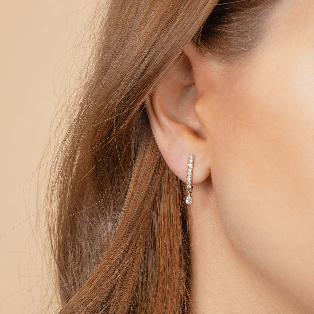 WHITE TOPAZ AND DIAMOND PAVÉ TEARDROP HOOK STUD EARRING