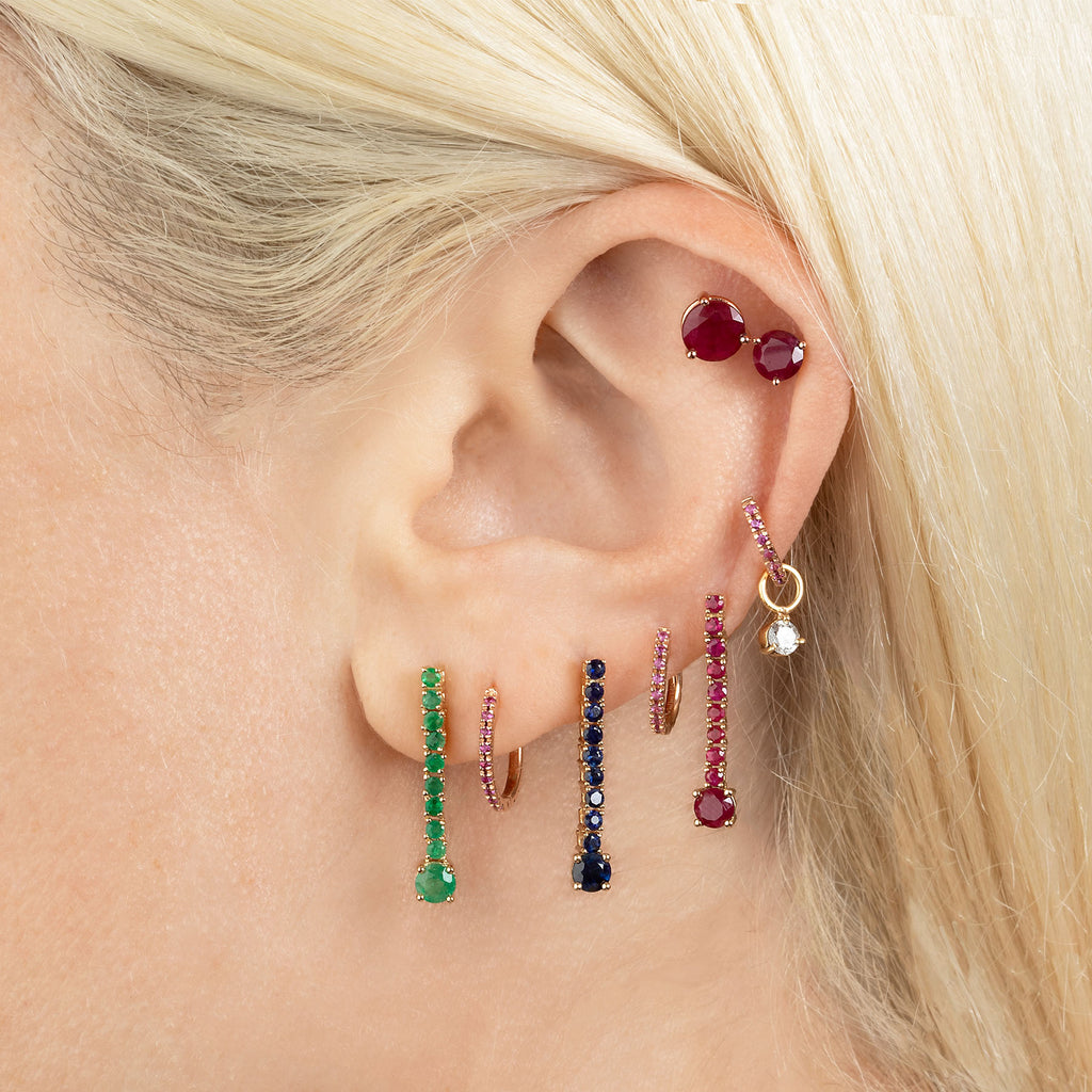 RUBY 6MM STUD EARRING