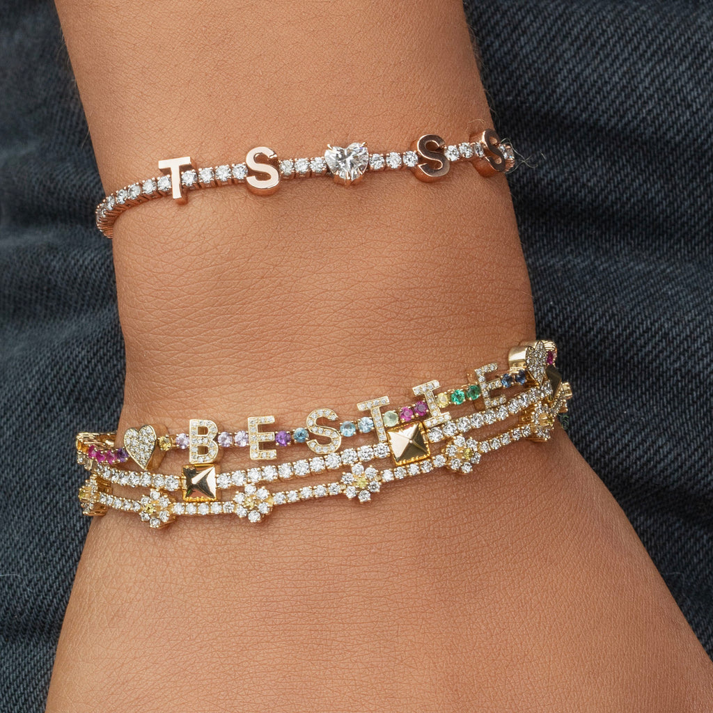 DIAMOND AND GOLD PYRAMID TENNIS BRACELET