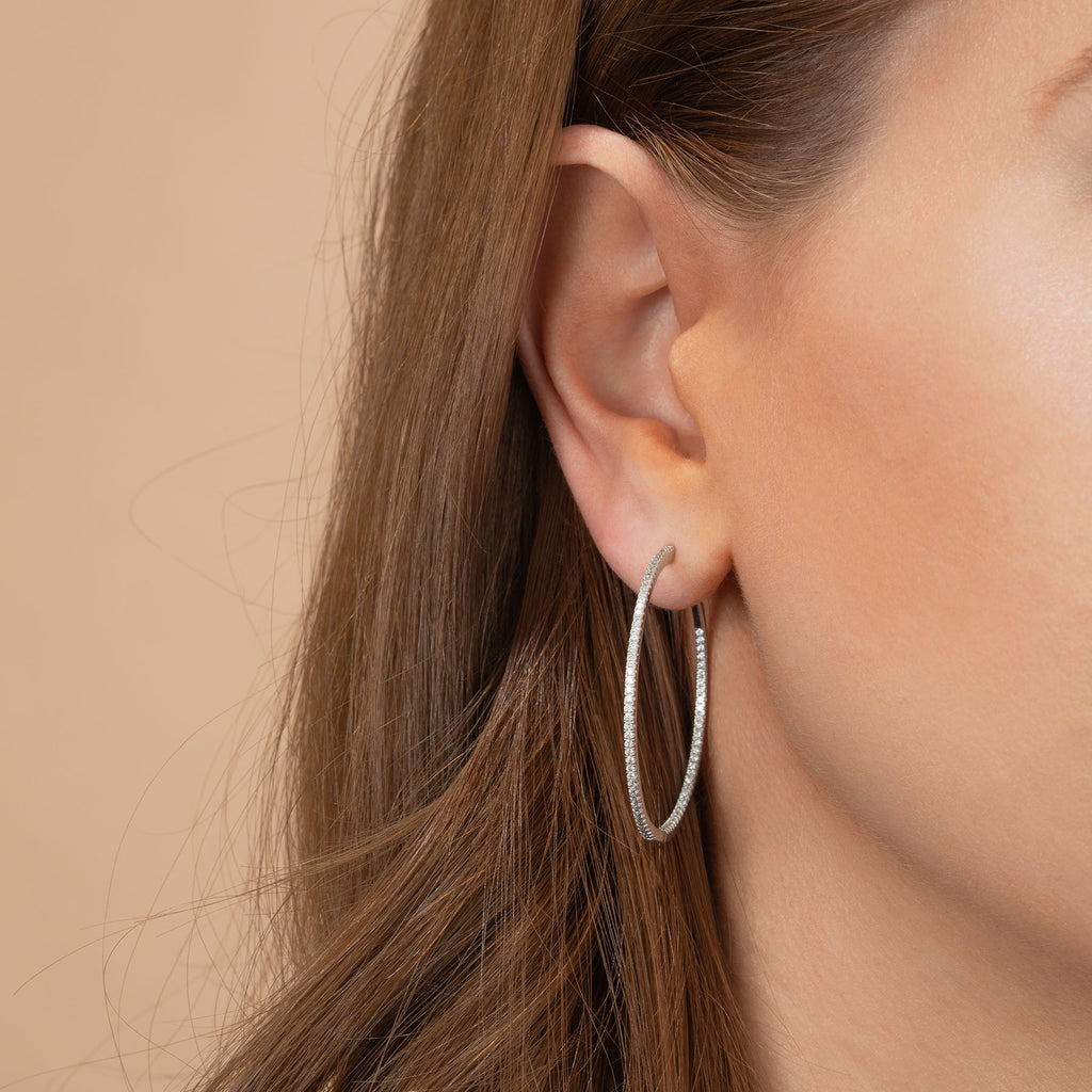 DIAMOND DOUBLE EXTRA LARGE INSIDE OUT HOOP EARRING