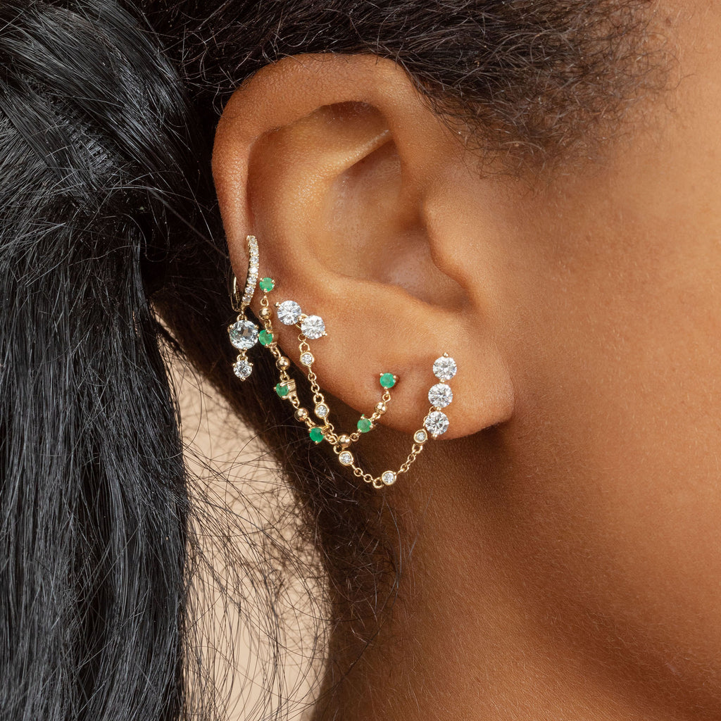 EMERALD STUD AND SPHERE CONNECTED EARRING
