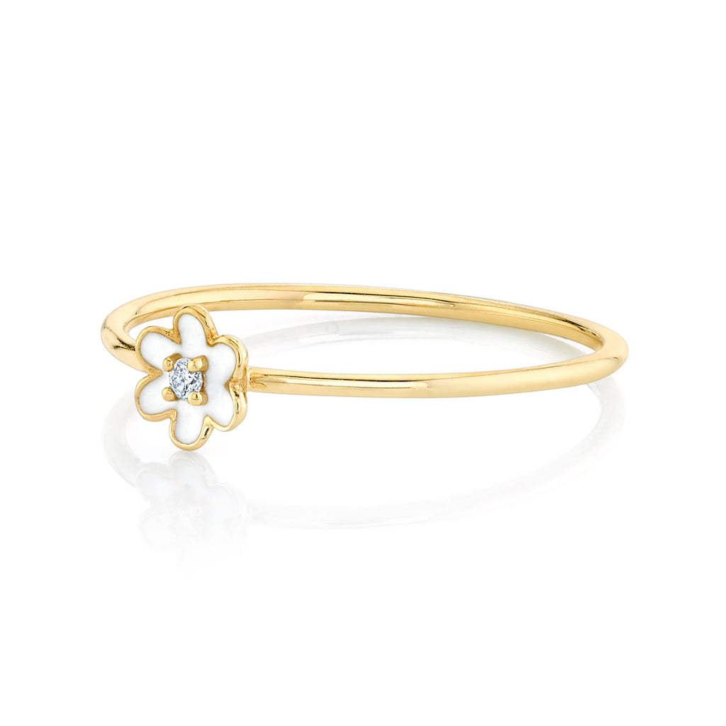 DIAMOND AND ENAMEL FLOWER RING
