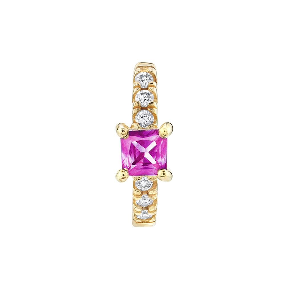 PINK SAPPHIRE PRINCESS SOLITAIRE PAVÉ HUGGIE EARRING