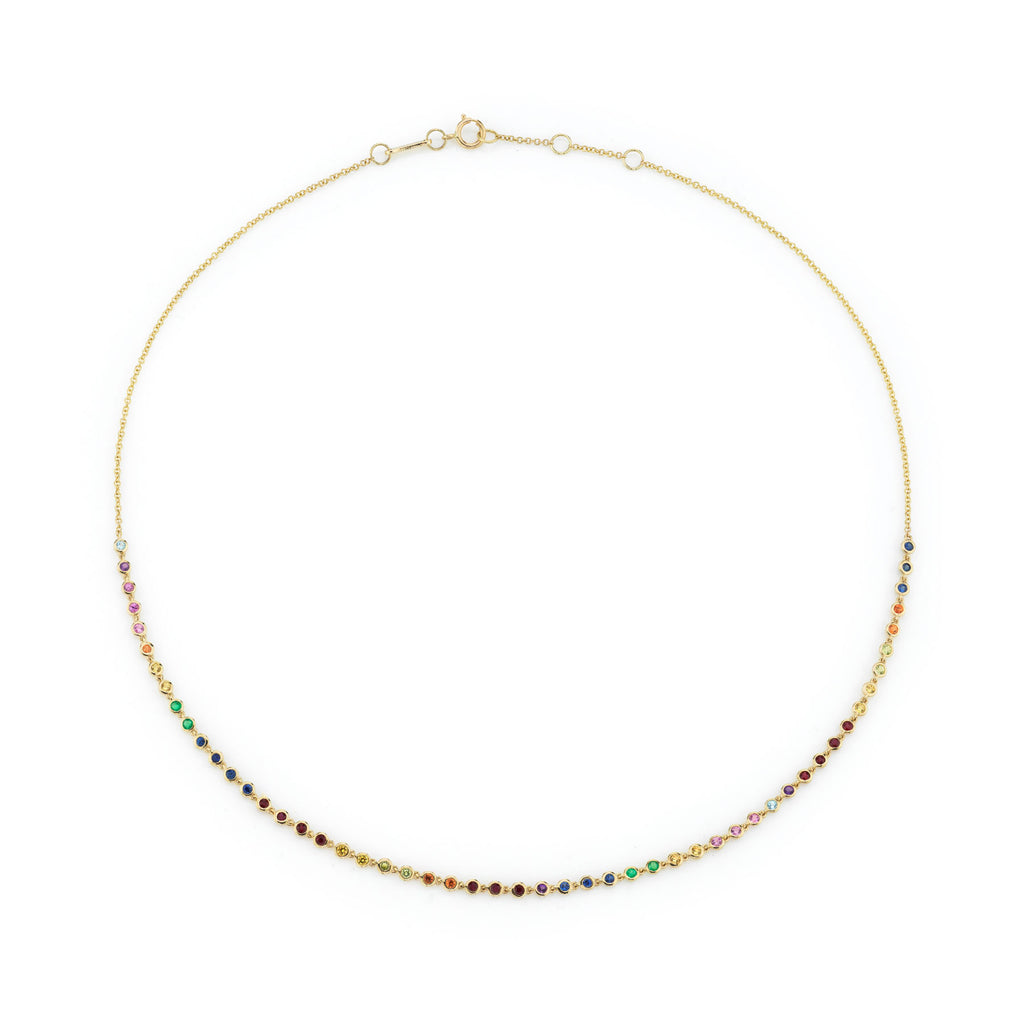 RAINBOW BEZEL LINK NECKLACE