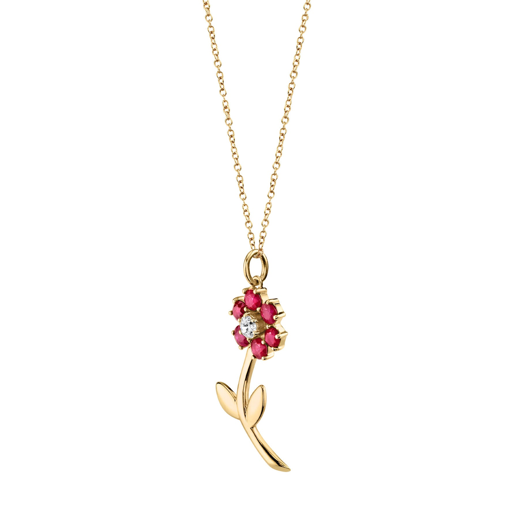 RUBY TEDDY FLOWER PENDANT