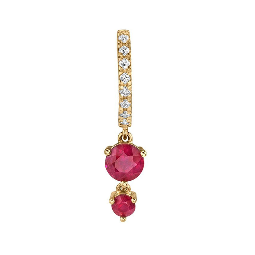 RUBY DOUBLE SOLITAIRE HUGGIE EARRING