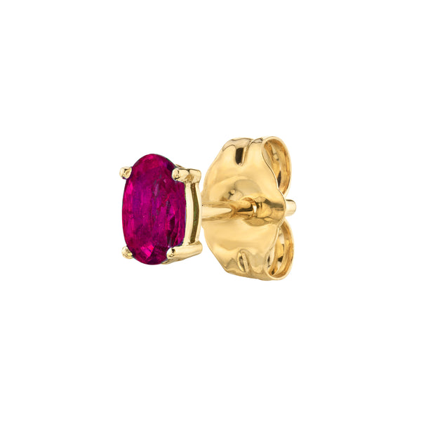 RUBY OVAL STUD EARRING