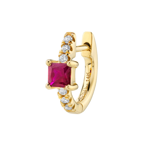 RUBY PRINCESS SOLITAIRE PAVÉ HUGGIE EARRING