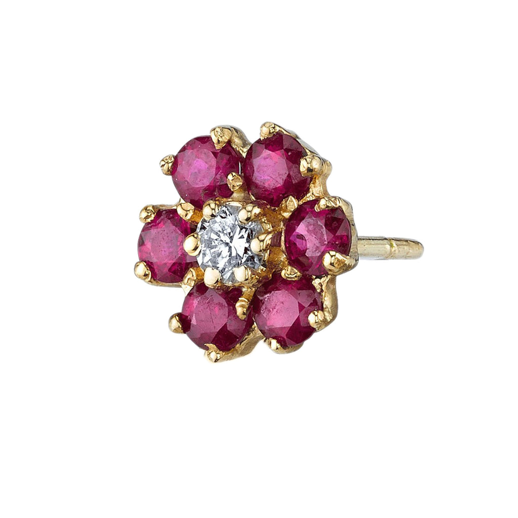 RUBY TEDDY FLOWER STUD EARRING