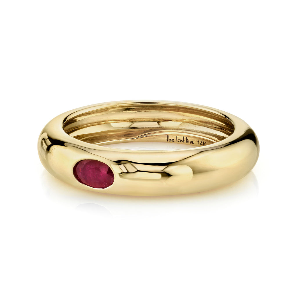 RUBY OVAL SOLITAIRE WIDE BAND