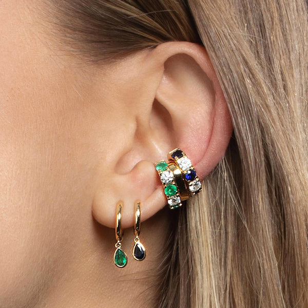 DIAMOND AND EMERALD CLASSIC EAR CUFF