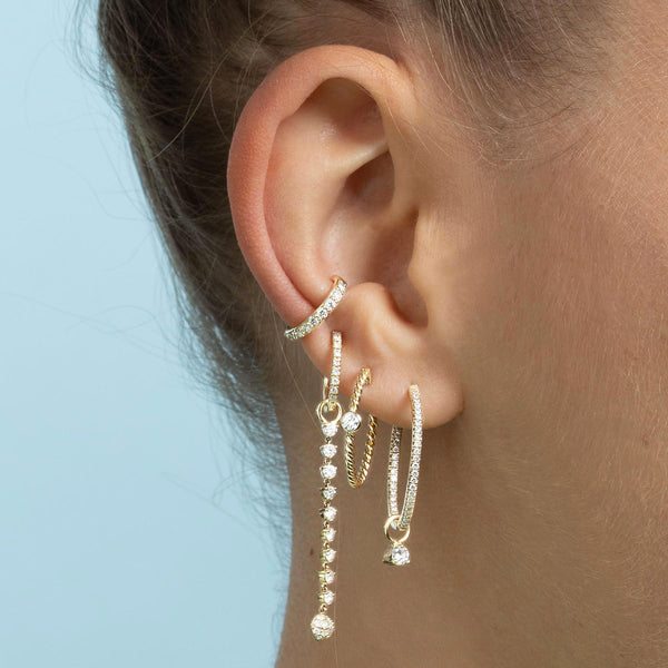 LARGE DIAMOND INSIDE OUT HOOP EARRING