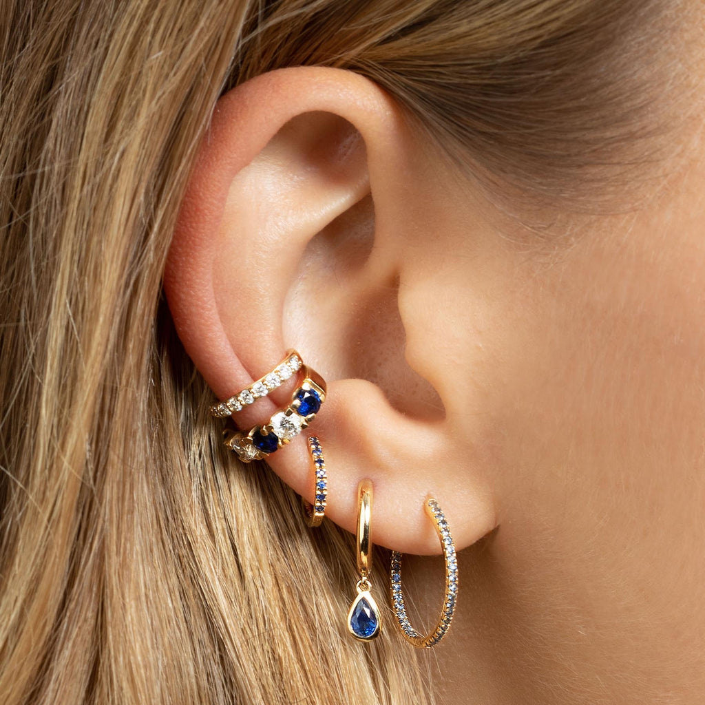 BLUE SAPPHIRE SMALL INSIDE OUT HOOP EARRING