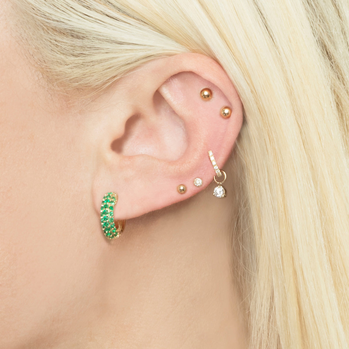 EMERALD PAVE WIDE HOOP EARRING