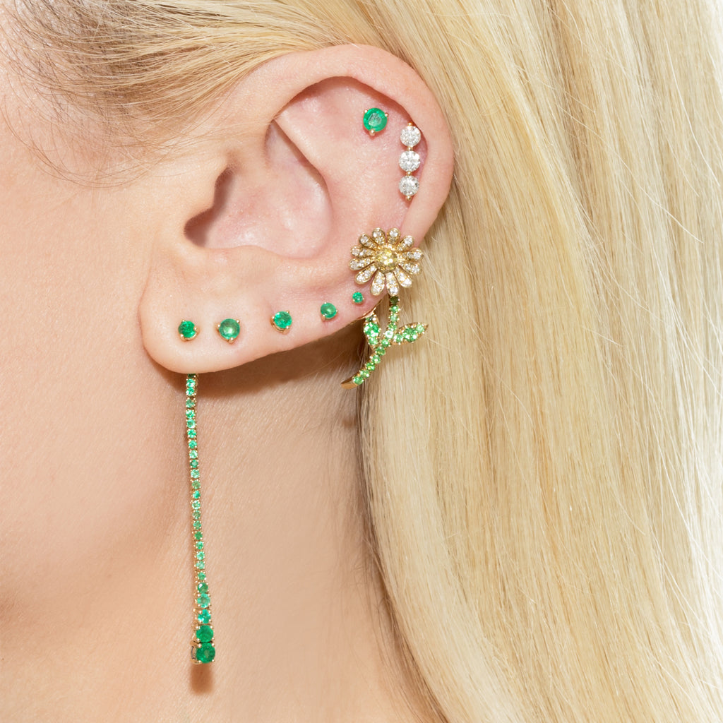 DIAMOND HOWL FLOWER EARRING
