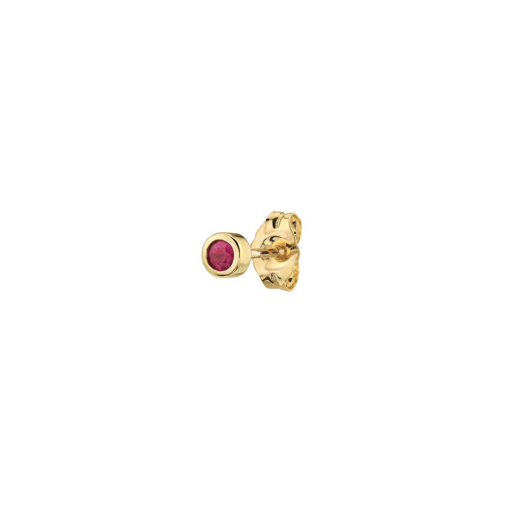 RUBY SMALL BEZEL STUD EARRING