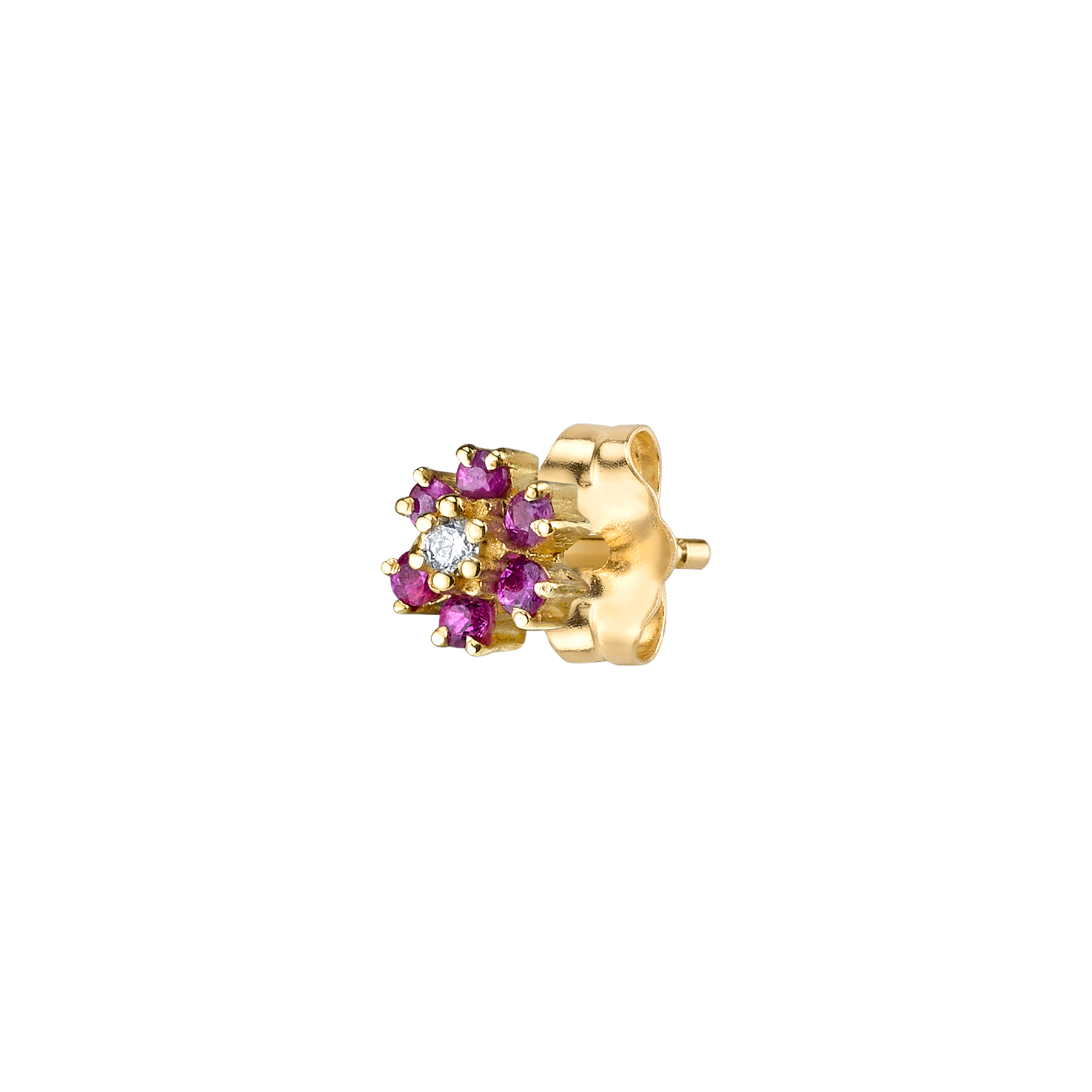 MINI RUBY FLOWER STUD
