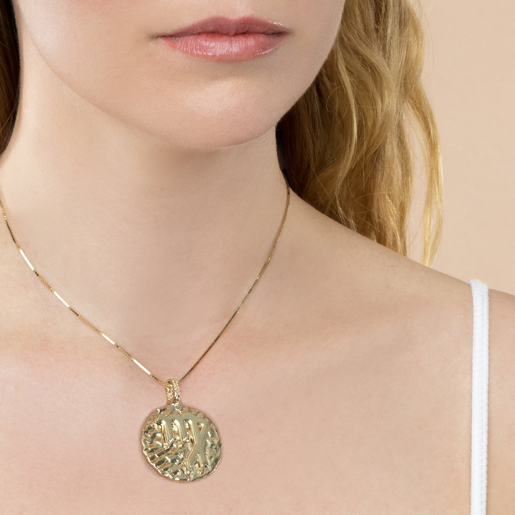 GOLD LARGE ZODIAC COIN PENDANT
