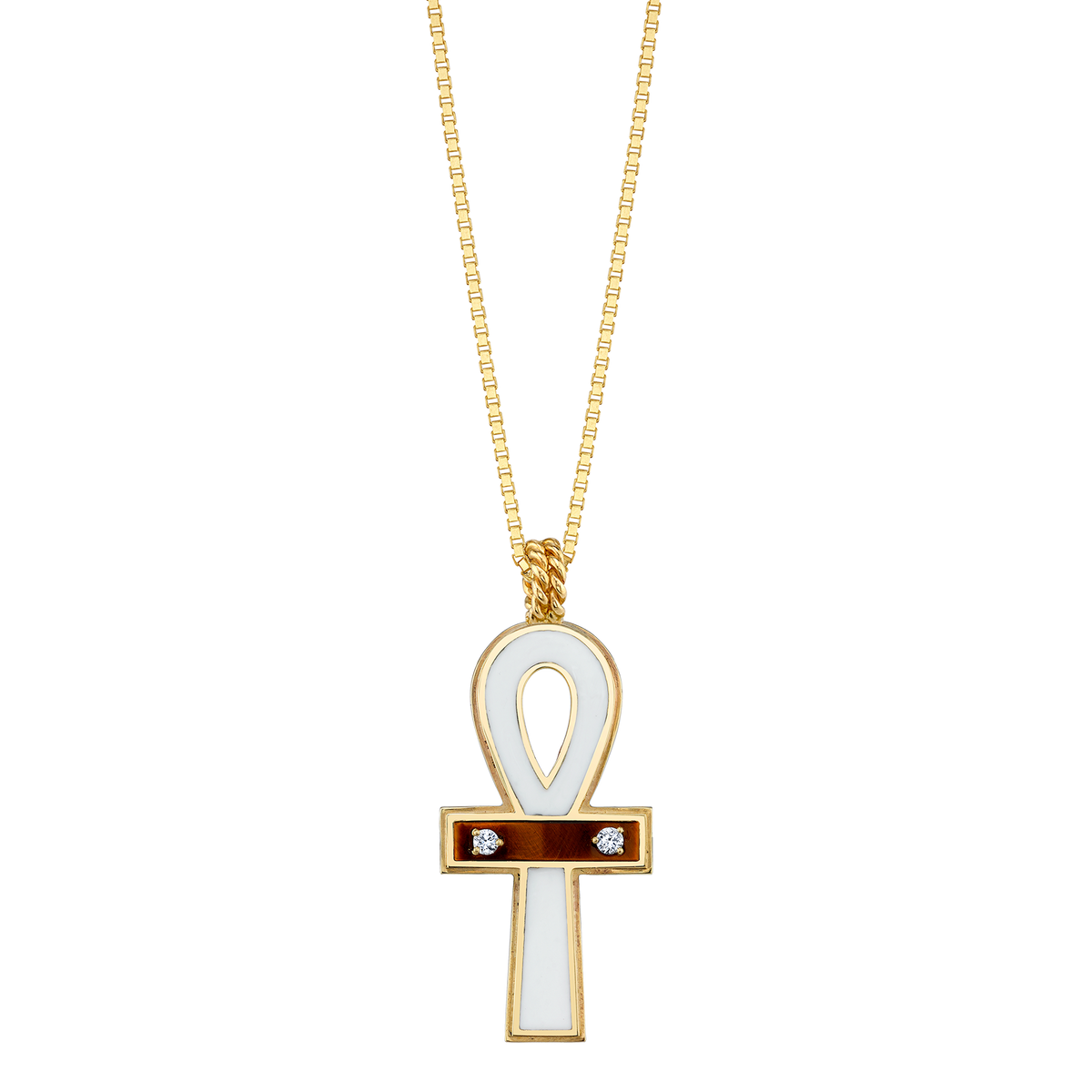 DIAMOND TIGERS EYE AND ENAMEL ANKH NECKLACE