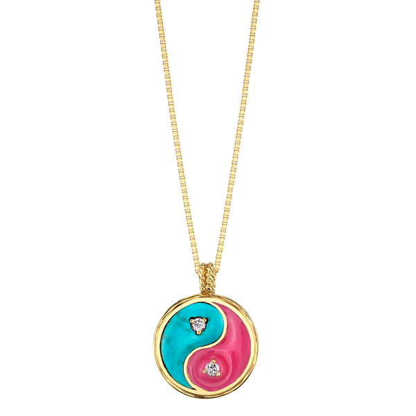 DIAMOND TURQUOISE YIN YANG NECKLACE