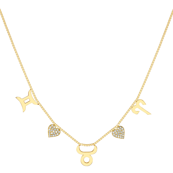 DIAMOND CUSTOM ZODIAC LOVE NECKLACE