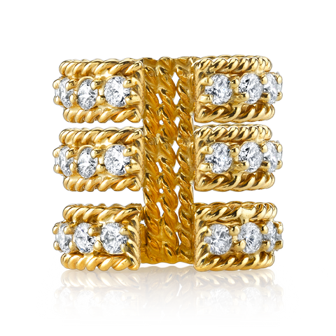 DIAMOND THREE ROW TWIST RING
