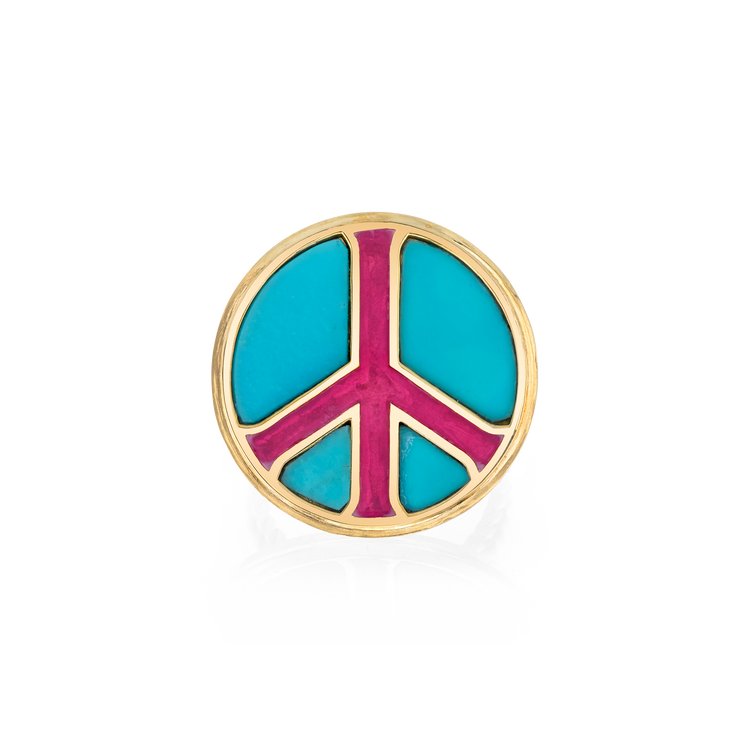 TURQUOISE PEACE SIGN RING