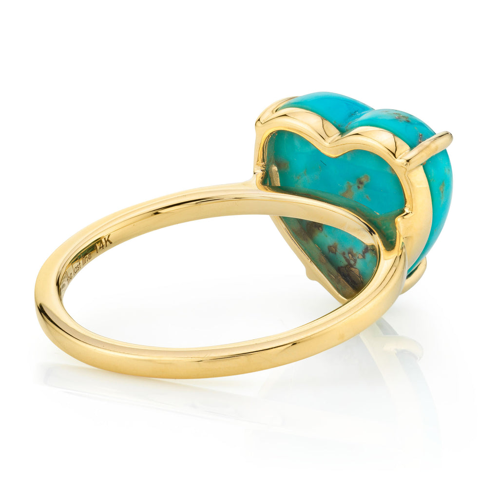 TURQUOISE AND GOLD HEART RING
