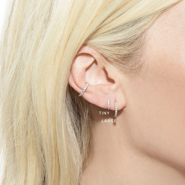 TINY DIAMOND HUGGIE EARRING