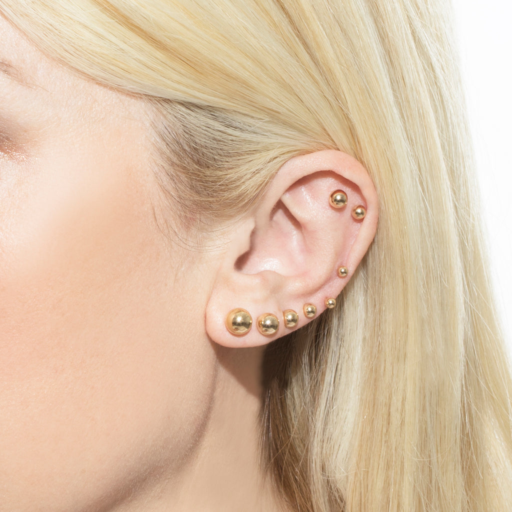 GOLD 8MM SPHERE STUD EARRING