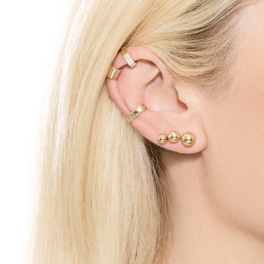 GOLD 7MM SPHERE STUD EARRING