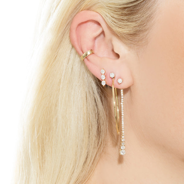 TRIPLE DIAMOND STUD EARRING