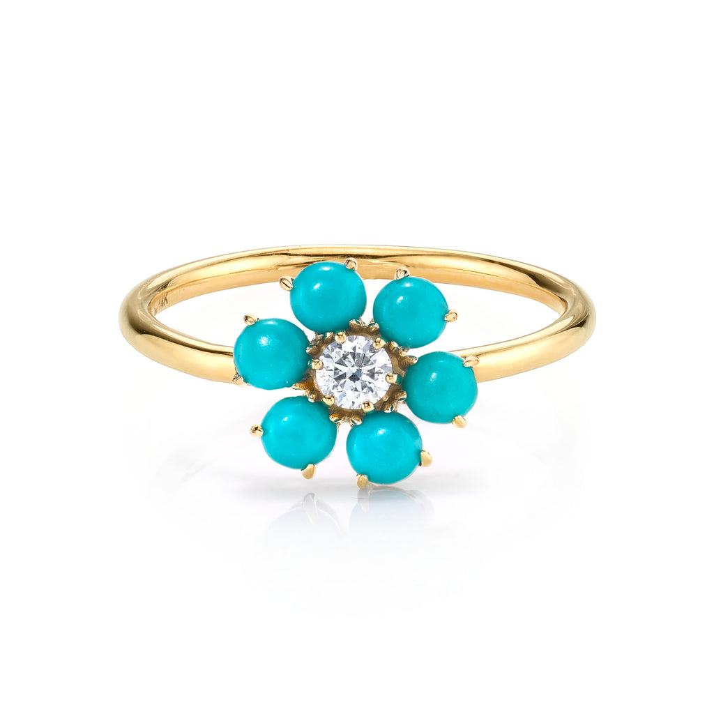 TURQUOISE TEDDY FLOWER RING