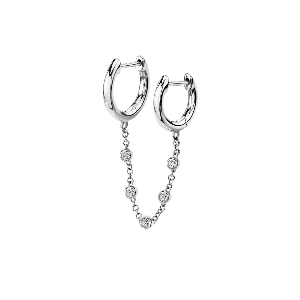 DIAMOND CHAIN CONNECTED SLIM HOOPS EARRING