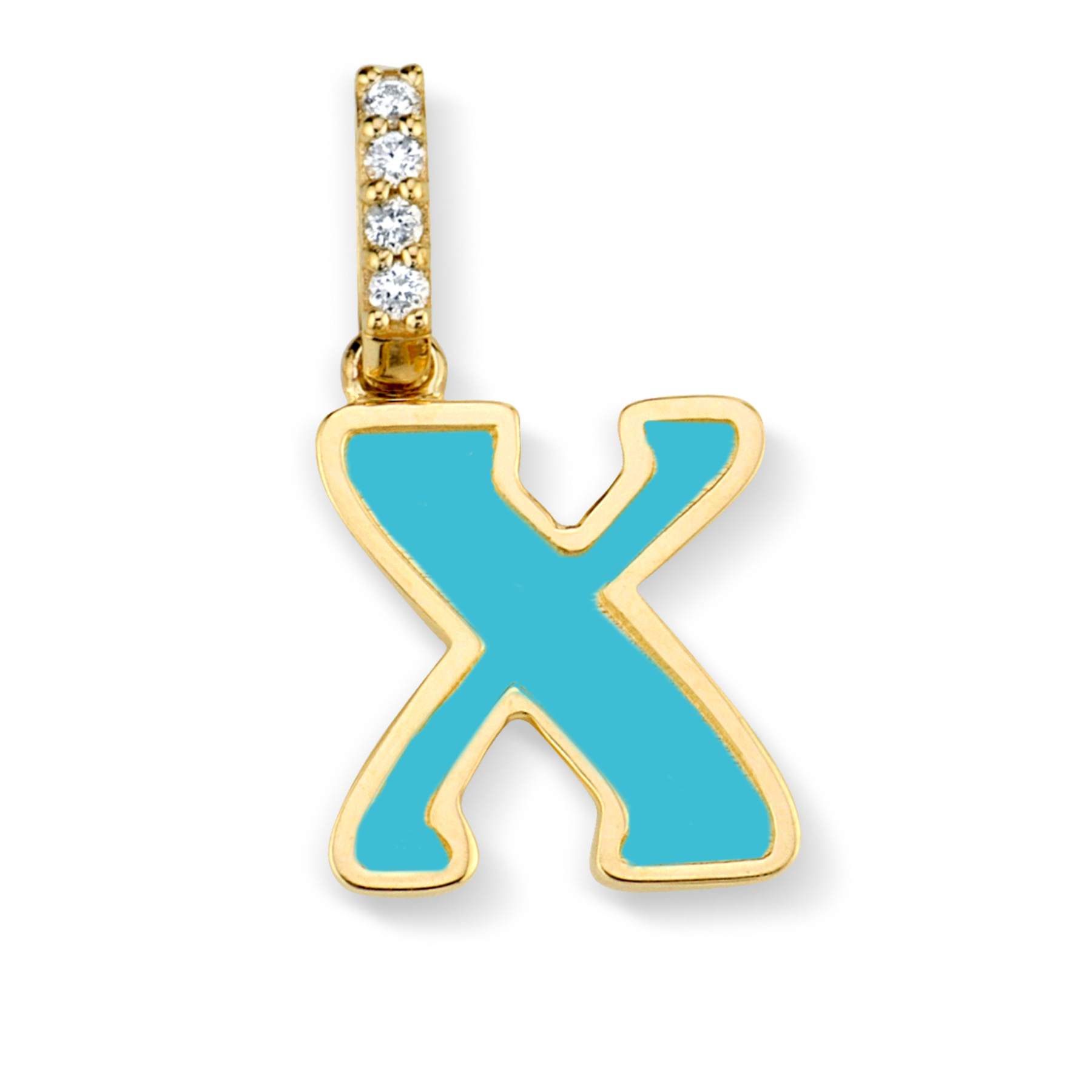 DIAMOND AND TURQUOISE ENAMEL LETTER PENDANT