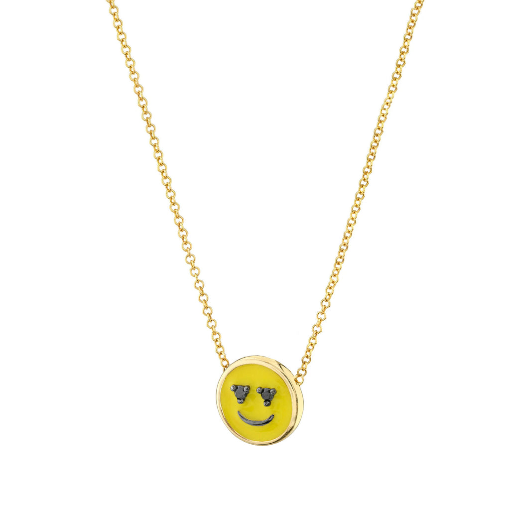 Smiley Face Enamel Charm Necklace