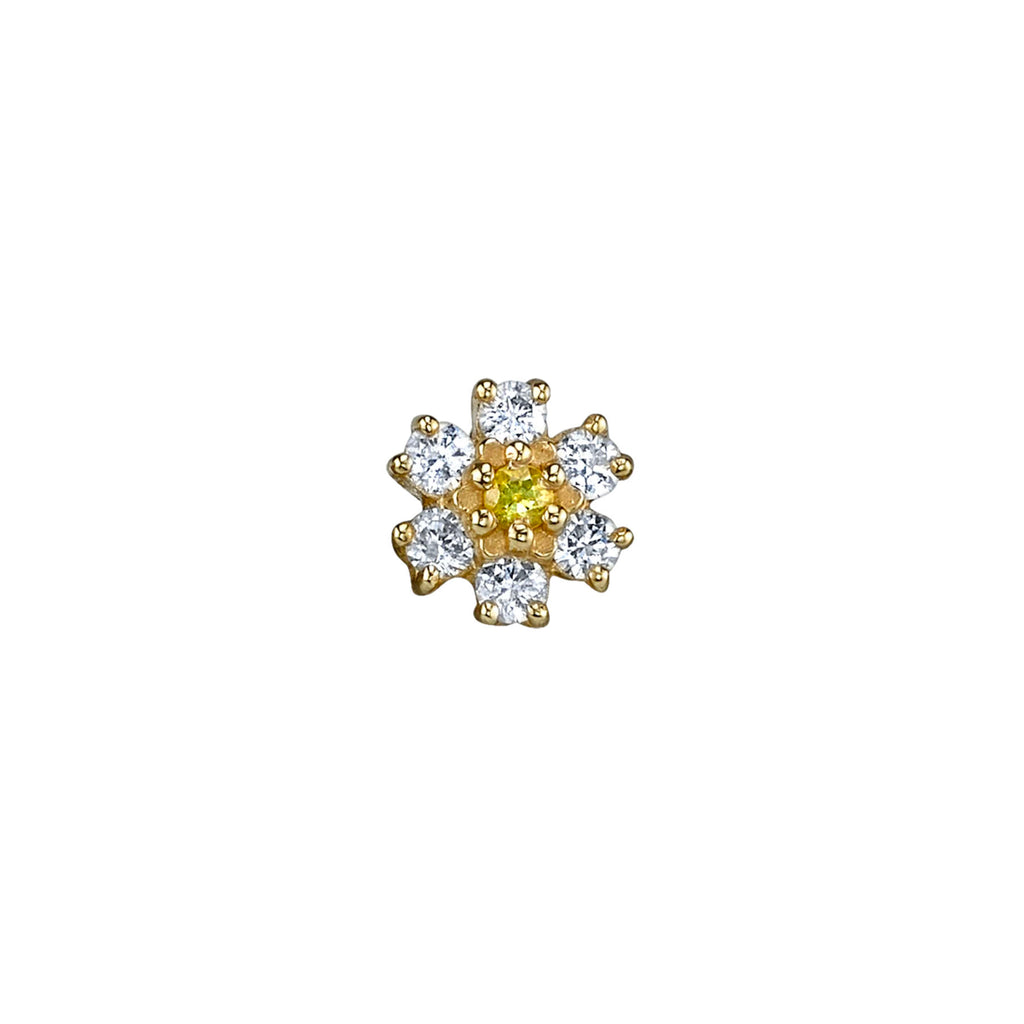 DIAMOND MINI FLOWER PIERCING STUD EARRING