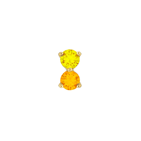 YELLOW SAPPHIRE AND ORANGE SAPPHIRE PIERCING DOUBLE STUD EARRING