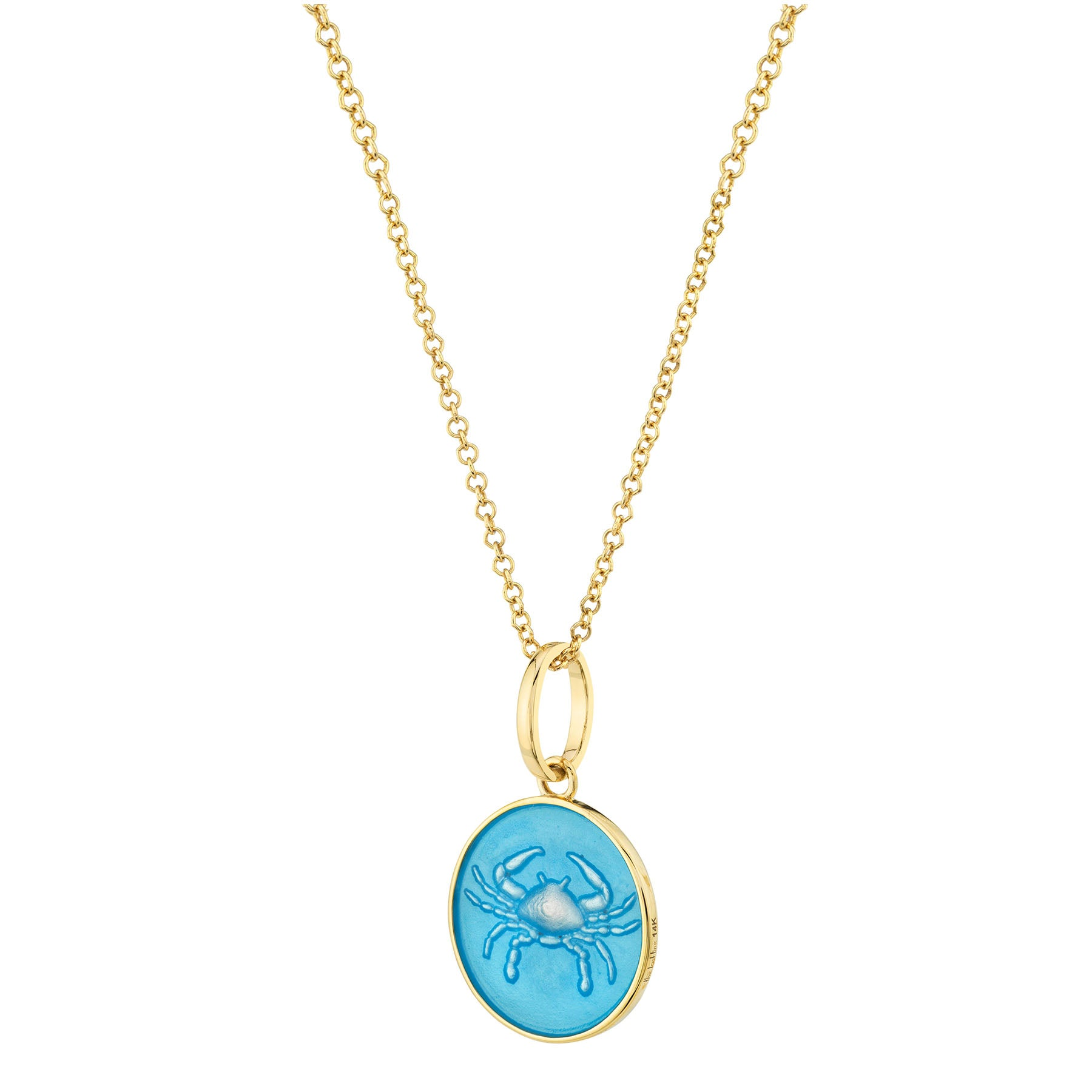 GOLD AND BLUE ENAMEL ZODIAC PENDANT