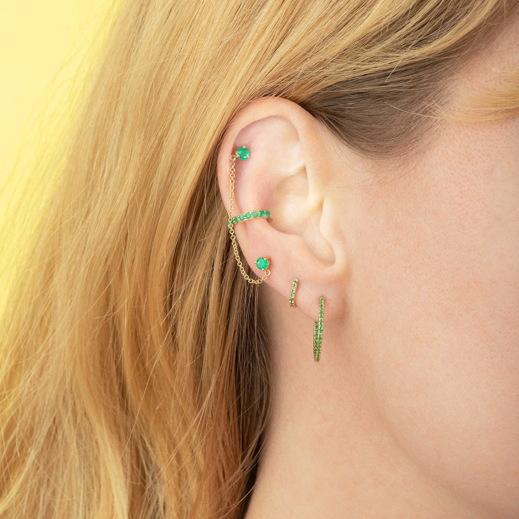 TSAVORITE SMALL INSIDE OUT HOOP EARRING
