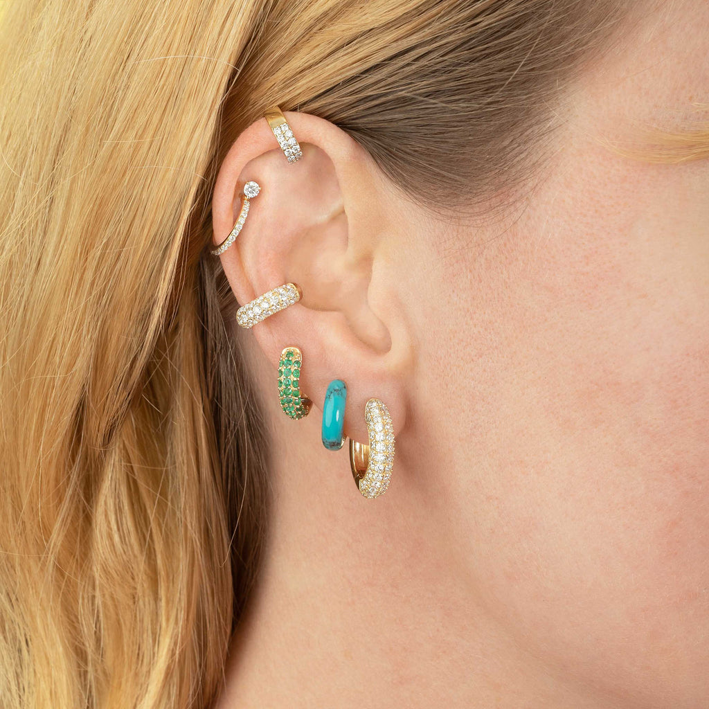 TURQUOISE AND GOLD WIDE HOOP #4 EARRING