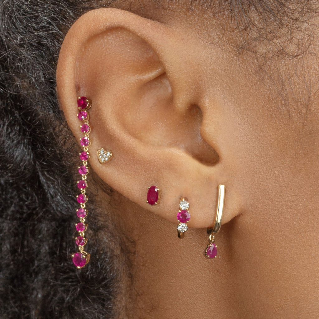 RUBY TEARDROP HOOK STUD EARRING